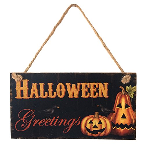 Halloween Sign Halloween Greetings Crow Pumpkin Wooden Hanging Sign Halloween Decorations