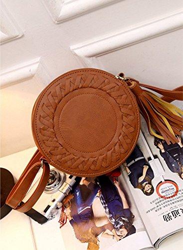 Huihuger Crossbody Bag Handbag Strap Light Shoulder Cute Tassel Round Purses with Small Leather Women Brown 8g8Aqfnra