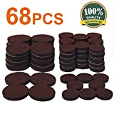 Chair Leg Protectors for Wooden Floors 68 Pack Furniture Pads 1 Inch And 1.5 Inch Felt Furniture Pads Heavy Duty Adhesive Chair Leg Pads Floor Protectors For Your Wooden Floor Hardwood & Hard Surface Furniture Protectors Brown