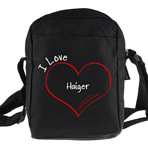 Umhängetasche Modern I Love Haiger schwarz
