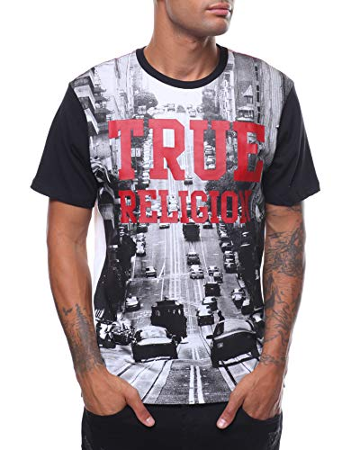 True Religion Mens Car TR Crew Neck Tee T-Shirt in White/Black