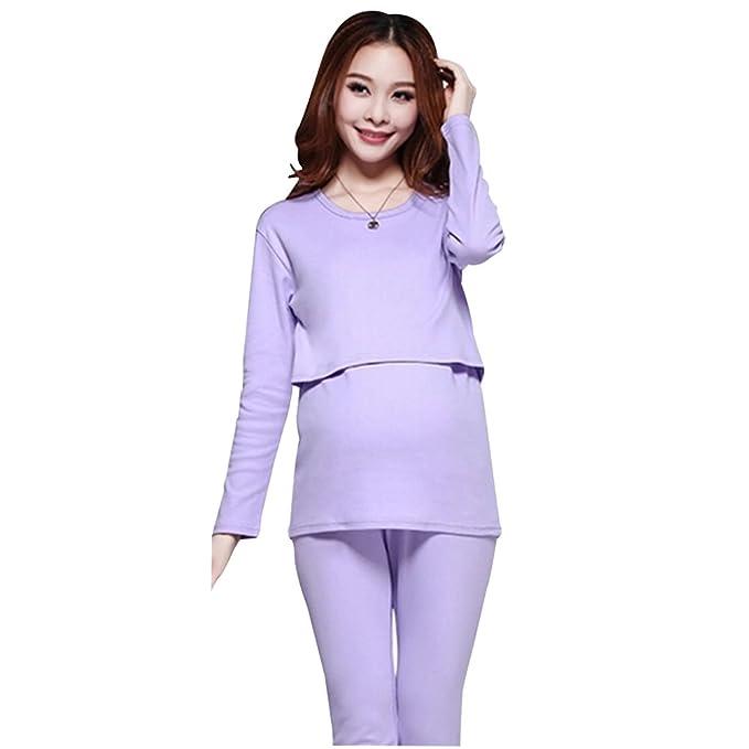 Aimeart Pijama Hecho de Algodon para el Embarazo y Lactancia, Violeta, (EU)
