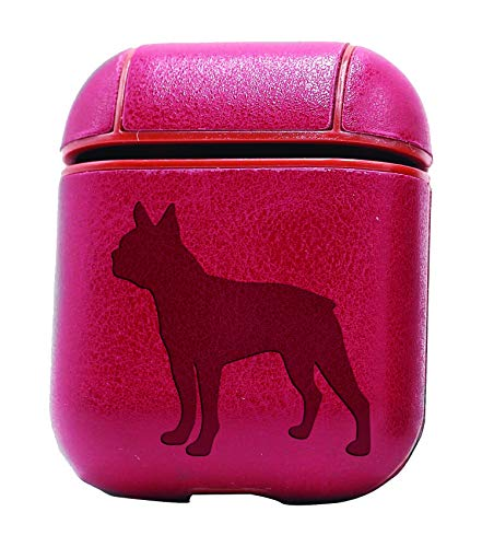 Boston Terrier Silhouette (Vintage Pink) Air Pods Protective Leather Case Cover - a New Class of Luxury to Your AirPods - Premium PU Leather and Handmade exquisitely by Master Craftsmen