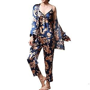 Jusfitsu Women's Pajama Sets Elegance 3pcs Silk Pajamas Womens Sleepwear Sets …