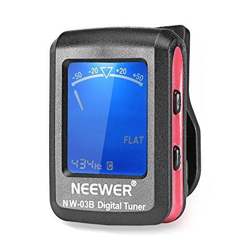 Neewer Chromatic Clip-on Tuner with a 360 Degree Rotational LCD Display for Guitar, Chromatic, Bass, Violin, Ukulele--Black