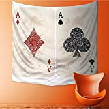 L-QN Tapestry Wall Hanging Clubs Poker Cards Game Gambling Fortune Cream Red Home Decorations for Bedroom Dorm 32W x 32L Inch