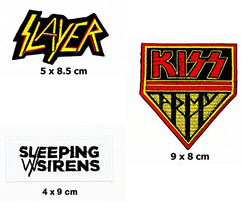Siren Costume Diy (Rock Heavy Music_Set Yellow Slayer Kiss And White Sleeping With Sirens Music Metal Punk rock patch Iron on Logo Vest Jacket cap Hoodie Backpack Patch Iron On/sew on patch)