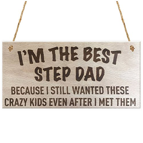 Fathers Day - Step Dad Crazy Kids Novelty Wooden Hanging Plaque Fathers Day Love Gift - John Flags Card Picture Calvin Photo Making Money Presents Pillow Pocket Happy Outfit Onesis Arts Flag K