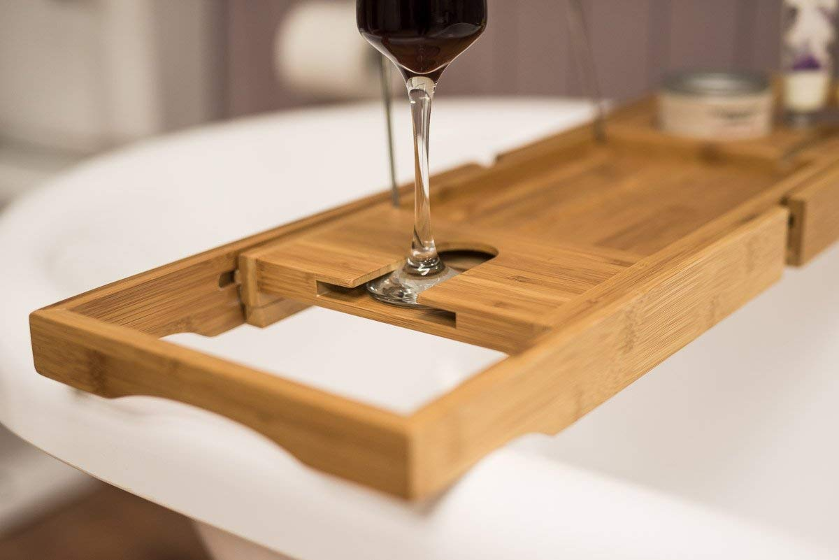 Bamboo Wooden Over Bath Tray Caddy Rack Shelf Tablet + Phone + Wine ...