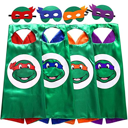 KostD Ninja Turtle Superhero Costume with Mask for Kids TMNT Cartoon Party Set of 4