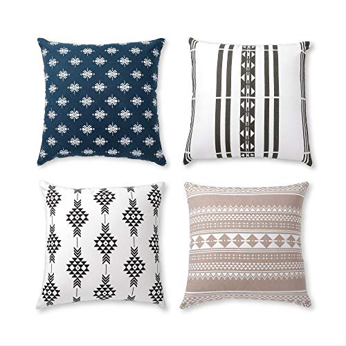 - Boho Throw Pillow Covers or Decorative Cushion Covers for Couch, Sofa, Bedroom Bohemian Set of 4 18X18 Modern Geometric Pillow Case for Home Decor or Farmhouse, 100% Cotton, Horizon Blue