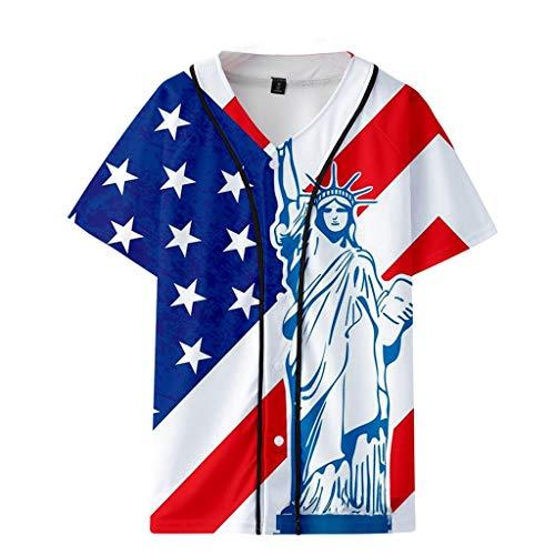 ASOBIMONO Unisex Short Sleeve Baseball Jersey Men's 3D Print USA Flag T Shirts Loose Button Down Blouse Tops White