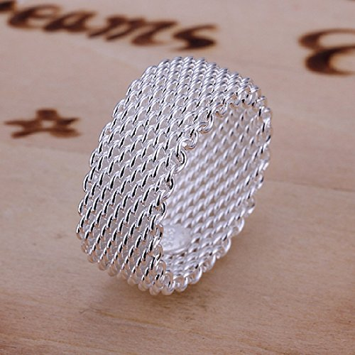 CY-Buity Europe Style 925 Silver Plated Grid Weave Fation Figure Ring 9 Size