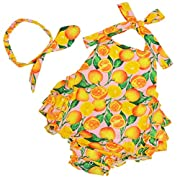 Fubin Baby Girl's Floral Print Ruffles Romper Summer Clothes With Headband,Lemon Pink,0-6 months