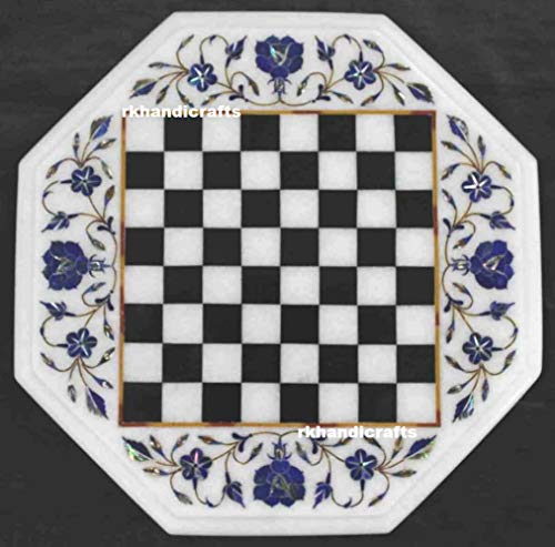 White Marble Chess Table Top with Chess Coin Inlay Work Lapis Lazuli with Gemstone 15 Inches King-2 Inches