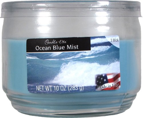 Candle-lite Essentials 3-Wick 10-Ounce Terrace Jar Candle, Ocean Blue Mist