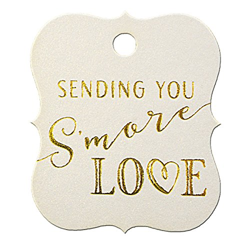 Summer-Ray 50pcs Gold Foil Hot Stamping Sending You S'More Love Wedding Favor Gift Tags (Shimmered White, Little Violin) -