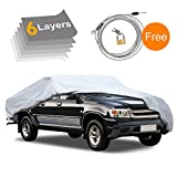 #9: Truck Cover-6 Layers Waterproof All Weather, for Snow Winter Outdoor, UV Protection, Car Cover for Truck Pickup Automobiles, Free Windproof Ribbon & Anti-theft Lock, Fits up to 224