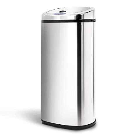 50L Stainless Steel Motion Sensor Rubbish Bin Automatic Trash Can for Home  Kitchen