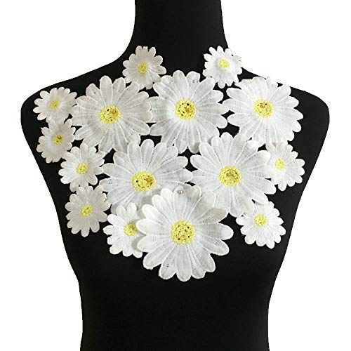 dered Sew On Applique Floral Lace Patch Milk Fiber Sewing Trims Clothes Wedding Dress Craft DIY (White) ()