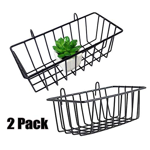 "Mygogo wall grid panel basket display shelf storage rack 9.2""x3.9""x3.1"" pack of 2 (Black)"