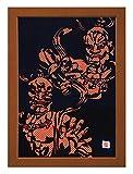"Cutout picture Japanese art collage KIRIE ""Todaiji Kongorikishi"" Vajradhara(a Deva king who is a guardian of the Buddha) Made by Washi(Japanese paper) Yuzen Ichimatsu Red&Gold, 13"" x 18"""