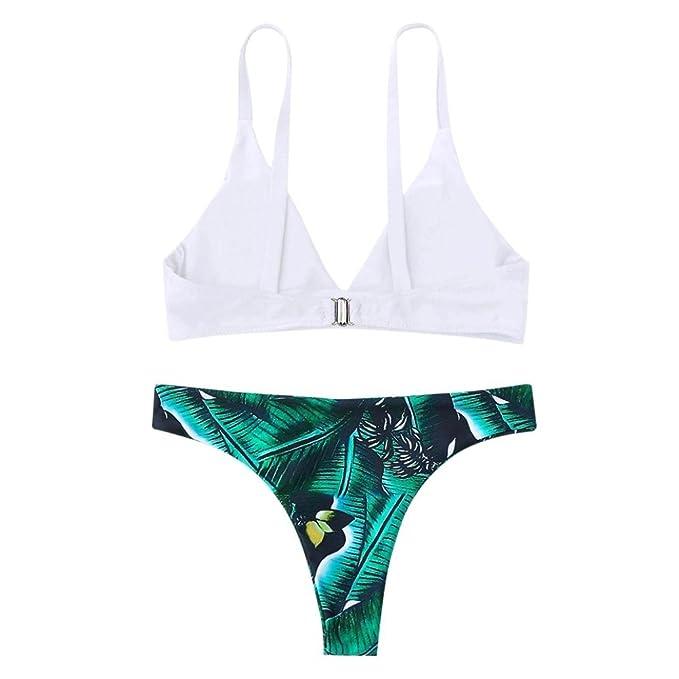 RETUROM-traje de baño Traje De Baño De Mujer, Cintura Alta Bikini para Mujer, Estampado Tropical