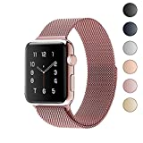 Lelong Apple Watch Band,Milanese Loop Fully Magnetic Clasp Stainless Steel Mesh iWatch Band for Apple Watch Series 3 Series 2 Series 1 Sport & Edition- 38mm Rose Gold
