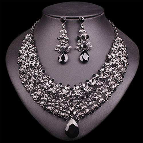 Vintage Statement Necklace Earrings Set Retro Indian Bridal Jewelry Sets Women's Party Costume Luxury Big Jewellery S2 GB black R30 -