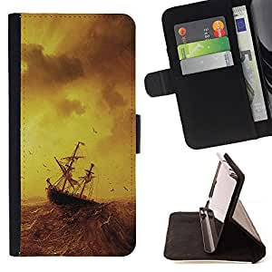 Jordan Colourful Shop - stormy sea painting ship sailing ocean birds For Samsung Galaxy S5 V SM-G900 - < Leather Case Absorci????n cubierta de la caja de alto impacto > -