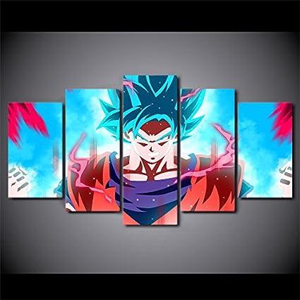 Amazon.com: JESC 5 Panels Canvas Painting Dragon Ball Painting HD ...