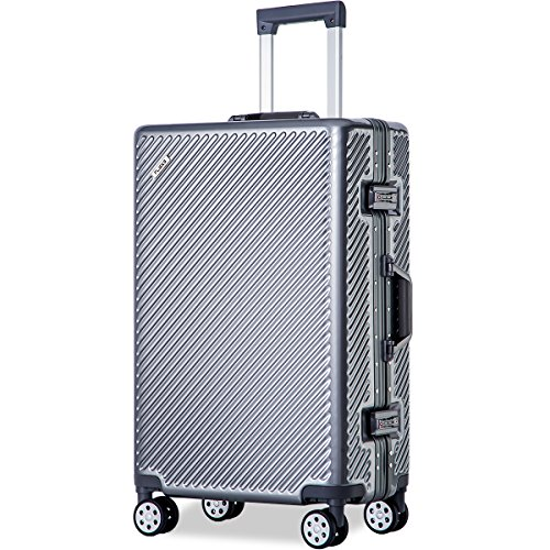 Flieks Aluminium Frame Luggage TSA Approved Suitcase (28-Consignment, Gray) by Merax