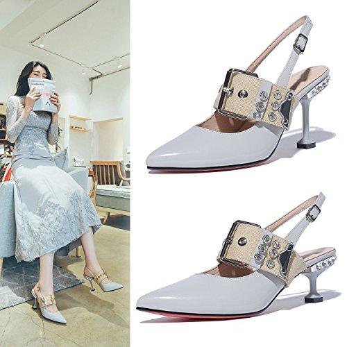 Sandalias Gris Jqdyl Verano Femeninas Stiletto Tacones de Claro 36 6Cm Wild Zapatos Mujer FFwZx5fzqn