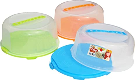 Palais Dinnerware Portable Cake Caddy Storage Container Server With Handle    Assorted Colors   14 Inch