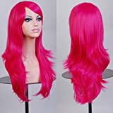 23' Long Curly Wavy Full Hallowee Cosplay Wig with Oblique Fringe for Sexy Girls Costume Party Soft Layered Heat Resistant Synthetic Fiber+ Free Wig Cap (hot pink)
