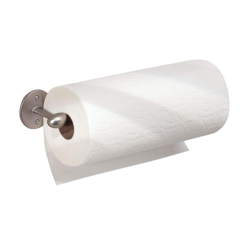 InterDesign Orbinni Wall Mounted Metal Paper Towel Holder, Roll Organizer for Kitchen, Bathroom, Craft Room, Matte Satin