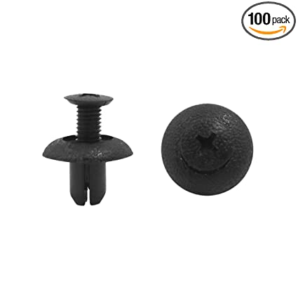 uxcell 100Pcs Plastic Rivets Screw Fender Body Door Trim Hood Clips Black 10mm