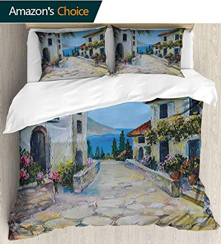 shirlyhome Rustic European Style Print Bed Set,Vintage Houses in Village Near The Sea with Colorful Plants Artistic 100% Cotton Bedspread/Quilt Set,3 Pieces 79