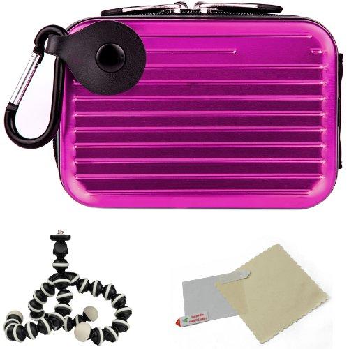 Metallic Pascal Hardshell Aluminum Cube Case (Purple) For Nikon Coolpix Point and Shoot Digital Cameras + Screen Protector + Mini Tripod