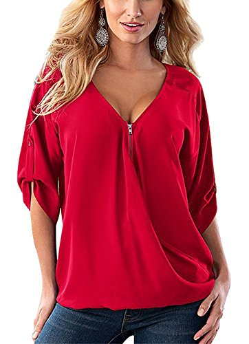 Womens Plus Size V Neck Zipper Cuffed Sleeve T Shirt Blouses Tops ,Red ,XXXX-Large