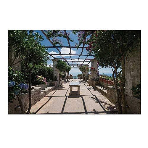 YOLIYANA Italian Decor Durable Door Mat,Beautiful Panorama Villa Rufolo Ravello Amalfi Coast Historical Famous Nature for Home Office,15.7