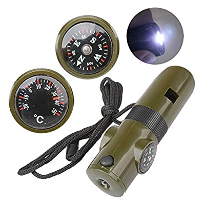 7 In 1 Outdoor Survival Tool Kit Whistle + Compass + Thermometer + Magnifying Glass + LED Light Camping Survival Tools -Blue Screen LLC