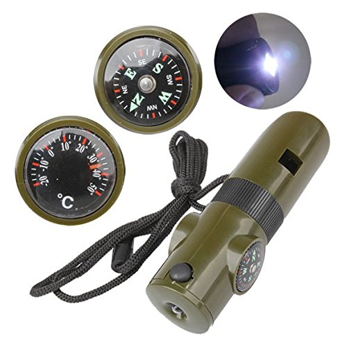 Adahill(TM) 7 In 1 Outdoor Survival Tool Kit Whistle + Compass + Thermometer + Magnifying Glass + LED Light Camping Survival Tools