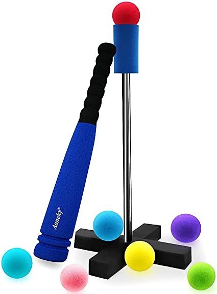 Amazon.com: Aoneky Mini Foam Tball Set for Toddlers - Carry Bag Included -  Best Baseball T Ball Toys for Kids Age 2 Years Old - Upgraded Version (Blue  1): Toys & Games