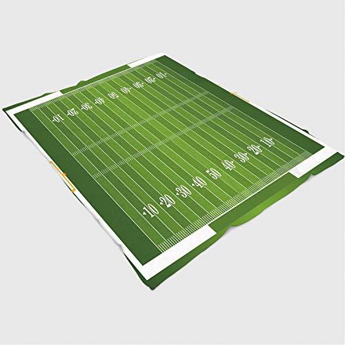 YOLIYANA Blanket Bedspread Soft Fleece Throw Blanket/49x78 inches/Football,Sports Field in Green Gridiron Yard Competitive Games College Teamwork Superbowl,Green ()