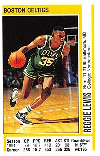 (1991-92 Panini Stickers Basketball #147 Reggie Lewis Boston Celtics 2 inch by 3 inch collectible NBA Album Sticker)
