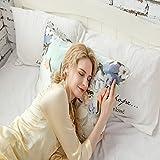ZIMASILK 100% Mulberry Silk Pillowcase for Hair and Skin Health, with Hidden Zipper,Both Side Silk,Floral Print, , 1pc (Queen 20x30, pattern7),Gift Box