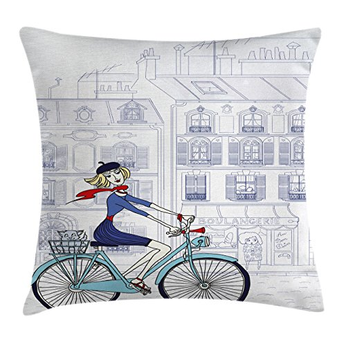 Paris Throw Pillow Cushion Cover by Ambesonne, Woman Riding a Bicycle in Paris with a Cat European French Style Illustration, Decorative Square Accent Pillow Case, 18 X18 Inches, Blue Red and (French Throw)