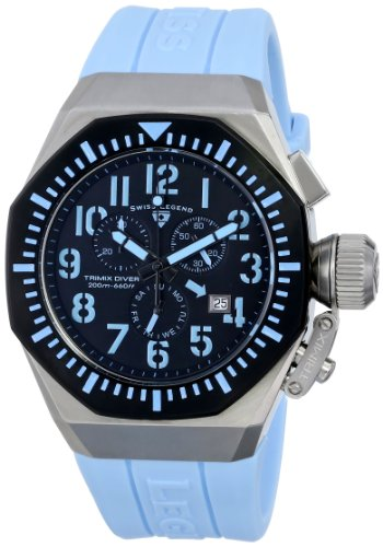 Swiss Legend Men's 10540-01-BB-BBLA Trimix Diver Chronograph Black Dial Light Blue Silicone Watch