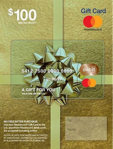 Amazon Com 100 Mastercard Gift Card Plus 5 95 Purchase Fee Gift Cards